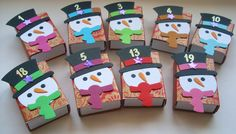 Adventskalender Schneemann von Wollzottel auf DaWanda.com Stampin Up Christmas, Christmas Time, Christmas Crafts, Xmas, Diy And Crafts, Paper Crafts, Advent Calenders, Handmade Candles, Goodie Bags