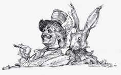 Hatter and Hare. Sketch drawing artwork by artist Iain McCaig