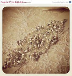 SALE 15% Wedding sash, Bridal belt , Bridal sash - satin ribbon with crystal and rhinestone beaded applique sash, custom color