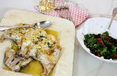 Receta Robin Food: Cogote de merluza asado con canónigos