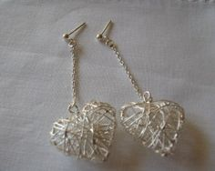 Sterling Silver Meshed Heart Earrings