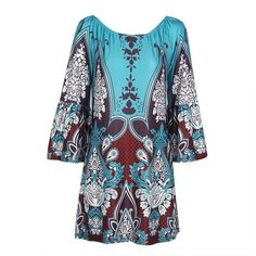 Best seller at Corachic - FREE SHIPPING on orders US$69 / Buy 3 Get Extra 8% OFF Code: CORACHIC8 / Buy 2 Get Extra 5% OFF Code: SAVE5 Gender: WomenMaterial: PolyesterStyle: BohemianSilhouette: StraightPattern Type: PrintSleeve Length(cm): ShortDecoration: AppliquesDresses Length: Above Knee, MiniNeckline: Slash. Women Off Shoulder Boho Elegant Summer Dress Tunic Dresses only $17.99, Sky Blue / L Elegant Summer Dresses, Summer Dresses For Women, Trendy Dresses, Dress Summer, Boho Floral Dress, Bohemian Dresses, Slash, Ms Gs, Urban Outfits
