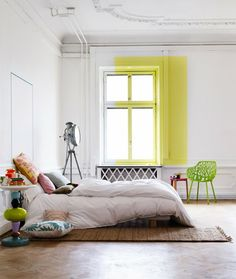 Articles about collection/living room on Apartment Therapy, a lifestyle and interior design community with tips and expert advice on creating happy, healthy homes for everyone. Flur Design, Home Design, Design Ideas, Home Bedroom, Bedroom Decor, Bedrooms, Airy Bedroom, Bedroom Designs, Master Bedroom