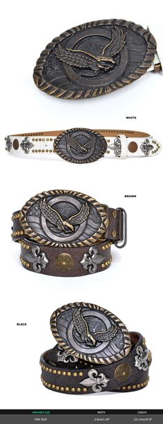 Accessories :: Big Brass Eagle Buckle Multi Studs-Belt 149 - GUYLOOK Men's…