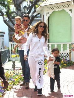 Jennifer Lopez and boyfriend Casper Smart take her two children, Emme and Max, to the Easter Bunny House at the Grove in Hollywood, CA on April 5, 2012.