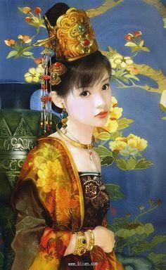 The Ancient Chinese Beauty by Der Jen - Der Jen's Art Painting - The Beauties in Qing Dynasty 19 Art And Illustration, Chinese Painting, Chinese Art, Fantasy Kunst, Fantasy Art, Art Magique, Art Chinois, Art Asiatique, Art Japonais