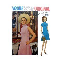 "Vogue Paris Original Dress by Designer Molyneux Misses Size 10 Bust 32 1/2"" Vintage 1960's Sewing Pattern Vogue 2206 on Etsy, $31.65 AUD"