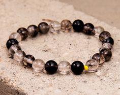 Space Galaxy: Black White Tourmaline Bracelet, Stretch, Women Bracelet, 8mm, Gift, Health, Yoga, Mala Beads, Jewelry, Stone, Fancy 2 Classy