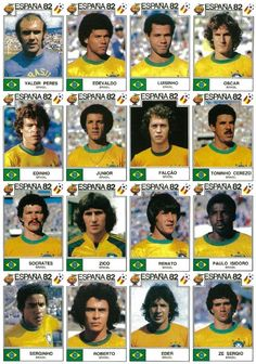 Brazil team stickers for the 1982 World Cup Finals. Club Football, Uefa Football, Brazil Football Team, Brazil Team, Football Awards, Arsenal Football, Best Football Team, World Football, Football Stadiums