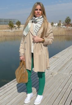 Light #fashion #style #outfit , Springfield in Scarves / Echarpes, Zara in Pants, Converse in Sneakers