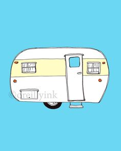 Sixties Vintage Camper Print by OReillyInk on Etsy