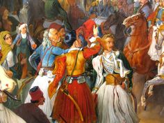 """Photo: Detail from: """"The Reception of King Othon of Greece at Nafplion"""" - Nikolaos Ferekeidis Oil On Canvas, Greece, Reception, History, Painting, King, Detail, Albania, Greece Country"""