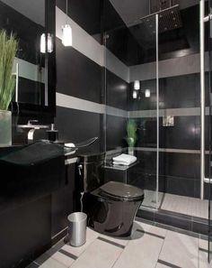 Elegant Bathroom Decor: Black Bathroom Fixtures And Decor Keeping Modern Bathroom Black Bathroom Decor, White Bathroom Tiles, Silver Bathroom, Bathroom Interior, Bathroom Accessories, Bathroom Ideas, Kitchen Interior, Wall Tiles, Grey Bathrooms Designs