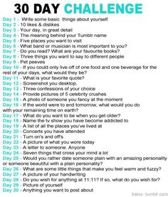 another 30 day challenge!                                                                                                                                                                                 More