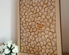 Personalised drop top guestbook x 50 hearts by TheGuestbookCo
