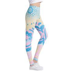 Women Fitness Leggings Aztec Round Ombre Printing Leggins Female Legins Sexy Pants