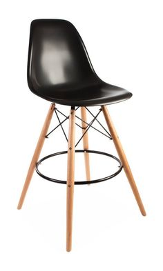 Mid Century Modern Eames DSW Style Black Counter Stool with Dowel Wood Base HIGH QUALITY Satin Finish Best Price