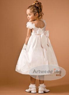 behind   http://www.artwedding.com/sleeveless-floral-tea-length-satin-ball-dress-with-bow-detail.html