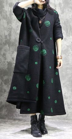Fine green dotted Women oversize Coats V neck women asymmetric coats Fine green dotted Women oversize Coats V neck women asymmetric coats Cardigans For Women, Coats For Women, Asymmetrical Coat, Plus Size Winter, Stylish Coat, Plus Size Coats, Swing Coats, Green Coat, Oversized Coat
