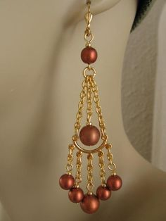 Chandelier Style Earrings - Copper