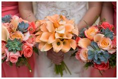 gorgeous bouquets with orange calla lillies, pink roses and succulents Stargazer Lily Bouquet, Calla Lily Wedding, Calla Lillies, Wedding Bouquets, Wedding Flowers, Wedding Planning Guide, Woodland Wedding, Brides And Bridesmaids, Wedding Decorations