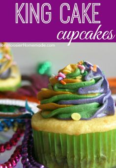 King Cake Cupcakes - Celebrate Mardi Gras with these easy to make cupcakes! Yellow cupcakes and layers of cinnamon and sugar and topped with Cinnamon Buttercream in bright Mardi Gras colors! Pin to your Recipe Board!