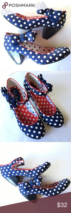 """Ruby Shoo Polka Dot Shoes Size 5 Ruby Shoo Pumps. Blue with white polka dots and red trim. Velcro closure with darling bow. Very nice condition. There is a little soiling on the inside heel. Please see all photos for condition. Textile Upper and lining. Man made 3"""" heel. Please let me know if you have any questions. Ruby Shoo Shoes Heels"""