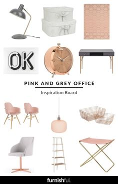 View the Pink and Grey Office Inspiration Board by Furnishful for great Office Ideas Cute Bedroom Decor, Decoration Bedroom, Bedroom Ideas, Grey Office, Grey Desk, Home Office Decor, Office Ideas, Cute Room Ideas, Gris Rose