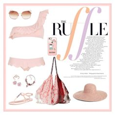 """""""Ruffled Bikini"""" by whims-and-craze on Polyvore featuring Je m'en fous, 6 Shore Road, Palm Beach Jewelry, Kate Spade, Mondevio, Hinge, Casetify and ruffledswimwear"""