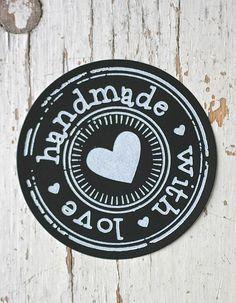Ronde sticker hand made with love zwart, 5st
