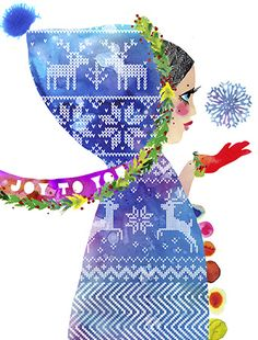 Christmas Hood, holiday greeting card by Masha D'yans, expresses the spirit of the Christmas season in the cosiest of ways!