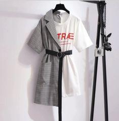Plaid Fashion, Grey Fashion, Autumn Fashion, Harajuku Fashion, Kawaii Fashion, Japanese High School Uniform, Crop Shirt, Shirt Blouses, Plaid Suit