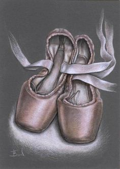 sketches boots drawing | Pointe shoes - original coloured pencil drawing by Tanya Bond would ...