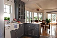 grey painted kitchen cabinets | Gray Kitchen cabinets in Cape Cod Kitchen by Encore Construction