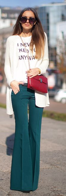 Teal Flare 70's Inspired Trousers