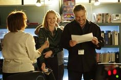 Absolutely love this behind-the-scenes shot with Marg Helgenberger and William Petersen!