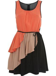 ruffle color-blocked dress