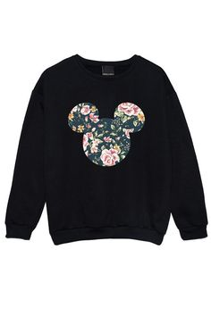 Floral Micky SWEATER Pullover Womens Damen Spaß Tumblr Hipster Beute Mode  Grunge retro oberen Beyonce Goth