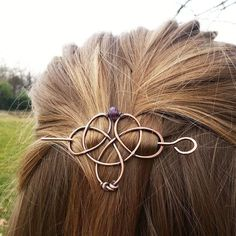 Metal hair barrette Celtic knot hair clip Rustic by FineMetalDust