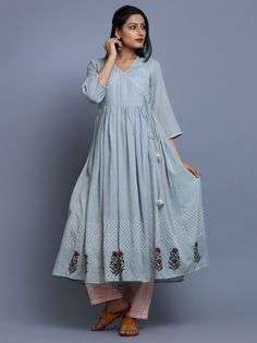 Dull Blue Hand Block Printed Mulmul Angrakha Kurta Simple Kurti Designs, Kurti Neck Designs, Kurti Designs Party Wear, Blouse Designs, Ethnic Outfits, Indian Outfits, Pakistani Dresses, Indian Dresses, Stylish Dresses