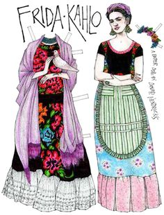 Mexican woman still love to wear flowers in their hair and use long stoles (REBOZOS) as a part of their wardrobes. Frida often wore a special type of blouse called HUIPIL. For a great selection of MULTIETHNIC PAPER DOLLS visit @ http://www.makingfriends.com/friends/f_multi.htm
