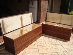 Make our own benches with storage to replace the file cabinets we currently have along the north wall. Outdoor Couch, Outdoor Rooms, Outdoor Living, Outdoor Box, Deck Storage Bench, Box Storage, Outdoor Storage, Diy Planters Outdoor, Diy Sofa