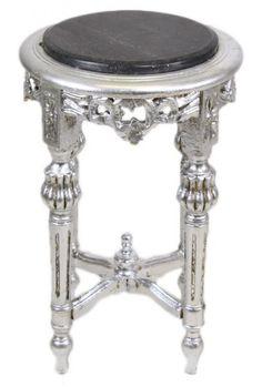 Casa Padrino Barock Beistelltisch Mit Schwarzer Marmorplatte Rund Silber 50  X 35 Cm Antik Stil   Telefon Blumen Tisch