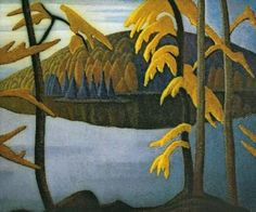 """Canadian artist Lawren Harris - """"Northern Lake,"""" Canadian Group of Seven Tom Thomson, Emily Carr, Group Of Seven Artists, Group Of Seven Paintings, Winter Landscape, Landscape Art, Landscape Paintings, Canadian Painters, Canadian Artists"""