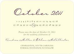 Signature Ecru Save the Date Cards - Calendar Card by Wedding Paper Divas