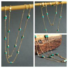 Hanini long necklace - long gold turquiose layering necklace www.kealohajewelry.etsy.com Maui Hawaii