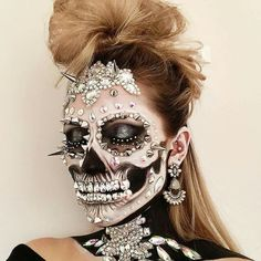Skull makeup with jewels and spikes!