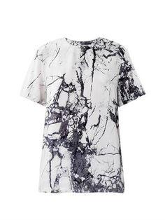 Marble-print silk top   Balenciaga   MATCHESFASHION.COM ($604.00) - Svpply