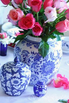 Pink flowers and blue and white are a natural together