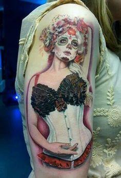 Awesome sugar skull pin up girl Pin Up Tattoos, Great Tattoos, Beautiful Tattoos, Body Art Tattoos, Girl Tattoos, Gangsta Tattoos, Chicano Tattoos, Awesome Tattoos, Hand Tattoos